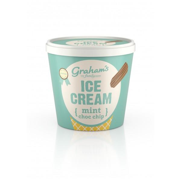 Graham's Mint Chocolate chip ice cream Tub